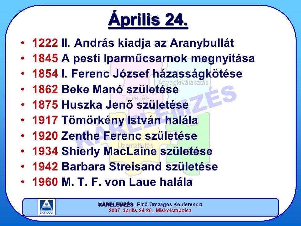 KÁRELEMZÉS KÁRELEMZÉS - Első Országos Konferencia 2007. április 24-25., Miskolctapolca 3 Április 24. •1222 II. András kiadja az Aranybullát •1845 A pe
