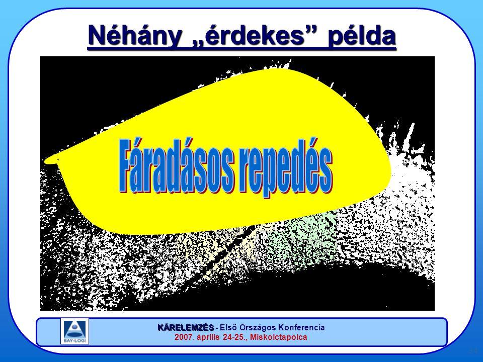 """KÁRELEMZÉS KÁRELEMZÉS - Első Országos Konferencia 2007. április 24-25., Miskolctapolca 34 Néhány """"érdekes"""" példa"""