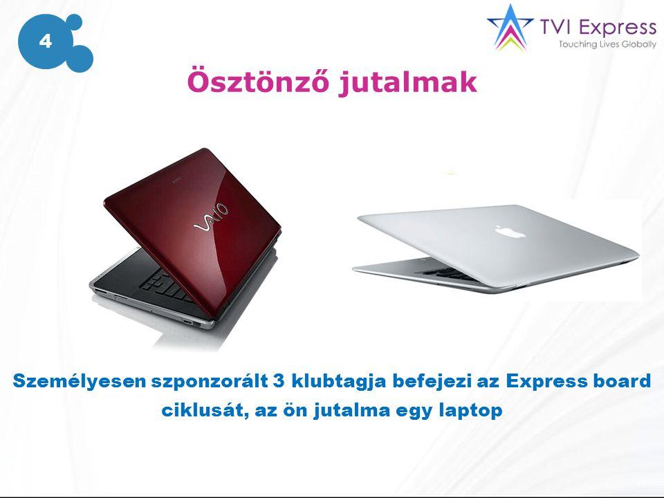 Ösztönző jutalmak Személyesen szponzorált 3 klubtagja befejezi az Express board ciklusát, az ön jutalma egy laptop 4