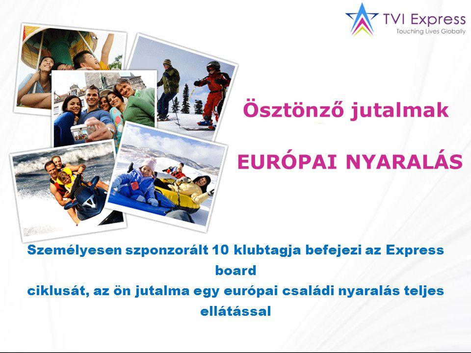 EURÓPAI NYARALÁS Ösztönző jutalmak Személyesen szponzorált 10 klubtagja befejezi az Express board ciklusát, az ön jutalma egy európai családi nyaralás teljes ellátással
