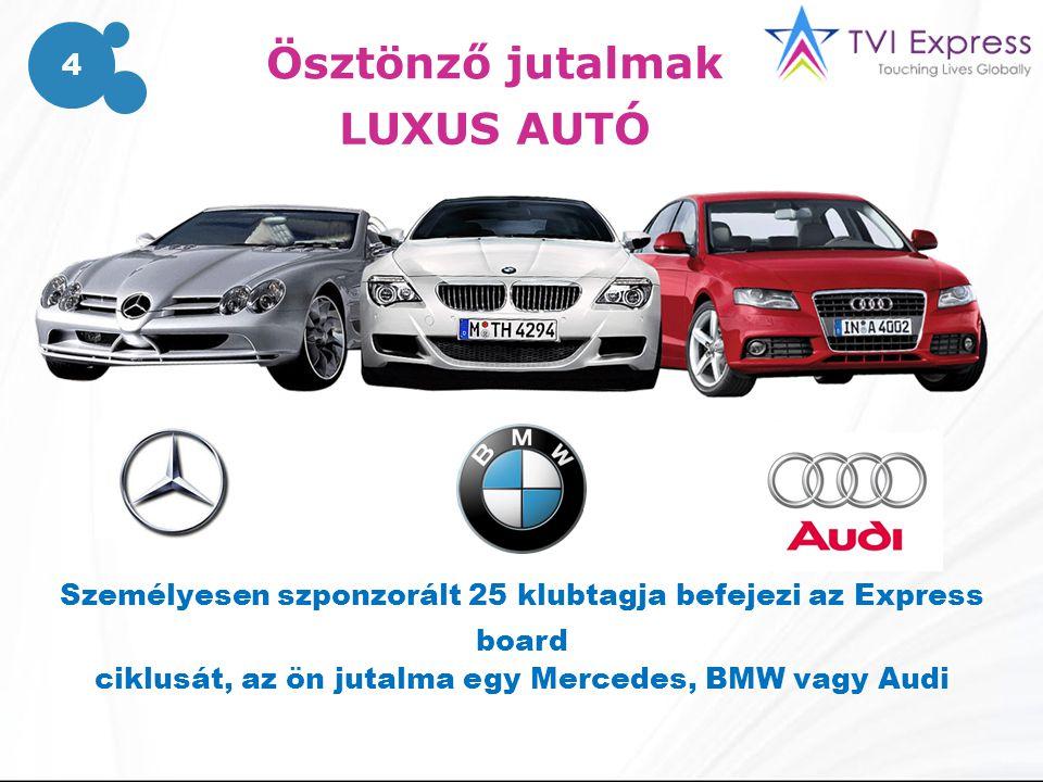 Ösztönző jutalmak LUXUS AUTÓ Személyesen szponzorált 25 klubtagja befejezi az Express board ciklusát, az ön jutalma egy Mercedes, BMW vagy Audi 4