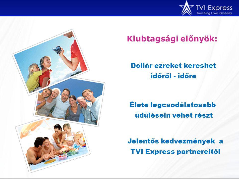 Klubtagsági előnyök: Dollár ezreket kereshet időről - időre Élete legcsodálatosabb üdülésein vehet részt Jelentős kedvezmények a TVI Express partnereitől