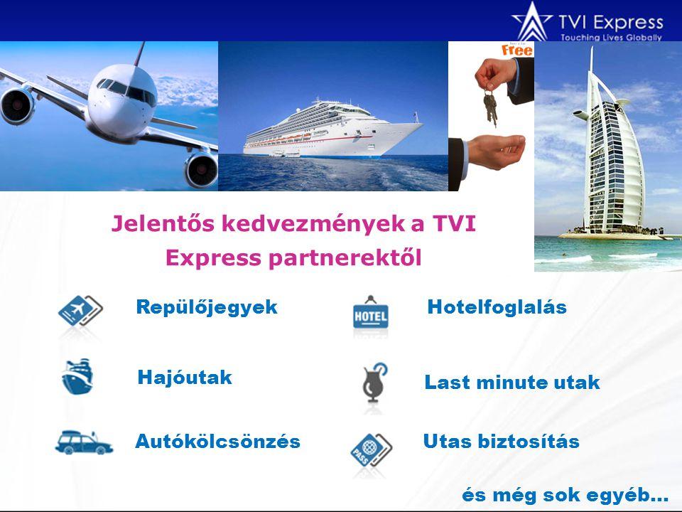 Repülőjegyek Autókölcsönzés Hajóutak Hotelfoglalás Last minute utak Utas biztosítás és még sok egyéb… Jelentős kedvezmények a TVI Express partnerektől