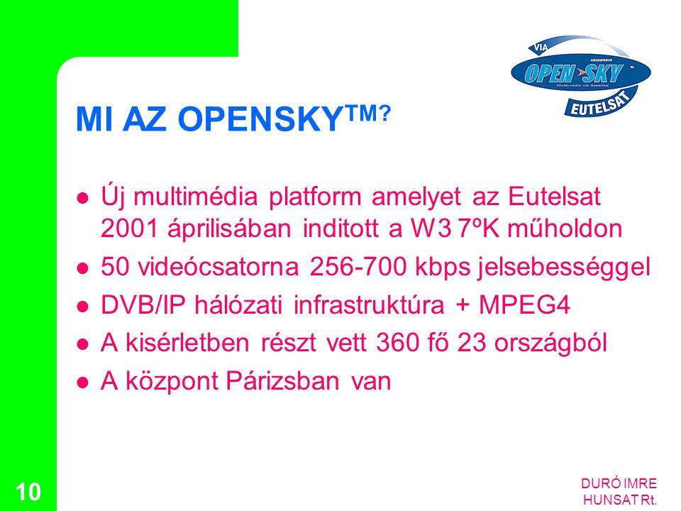 DURÓ IMRE HUNSAT Rt. 10 MI AZ OPENSKY TM?  Új multimédia platform amelyet az Eutelsat 2001 áprilisában inditott a W3 7ºK műholdon  50 videócsatorna