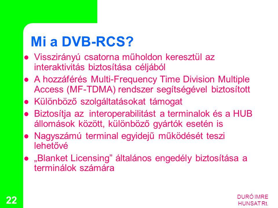 DURÓ IMRE HUNSAT Rt. 22 Mi a DVB-RCS?  Visszirányú csatorna műholdon keresztül az interaktivitás biztosítása céljából  A hozzáférés Multi-Frequency