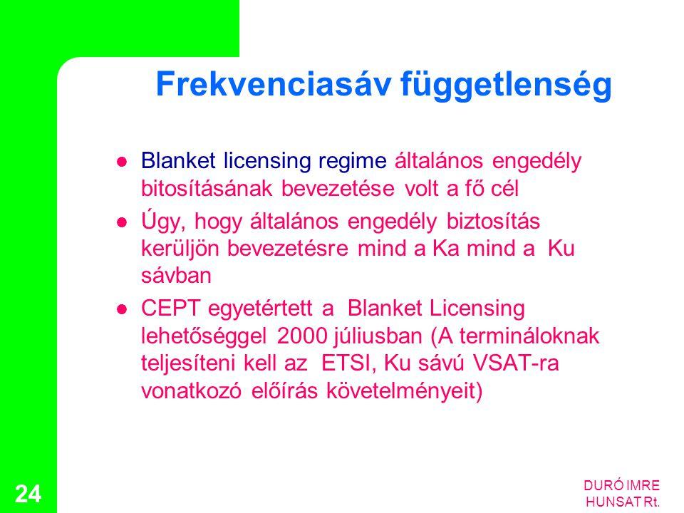 DURÓ IMRE HUNSAT Rt. 24 Frekvenciasáv függetlenség  Blanket licensing regime általános engedély bitosításának bevezetése volt a fő cél  Úgy, hogy ál
