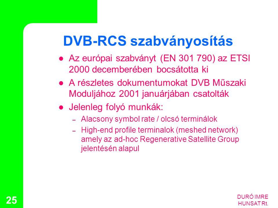 DURÓ IMRE HUNSAT Rt. 25 DVB-RCS szabványosítás  Az európai szabványt (EN 301 790) az ETSI 2000 decemberében bocsátotta ki  A részletes dokumentumoka