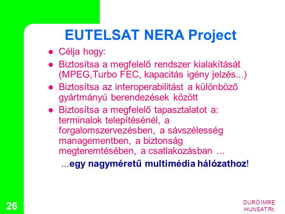 DURÓ IMRE HUNSAT Rt. 26 EUTELSAT NERA Project  Célja hogy:  Biztosítsa a megfelelő rendszer kialakítását (MPEG,Turbo FEC, kapacitás igény jelzés...)
