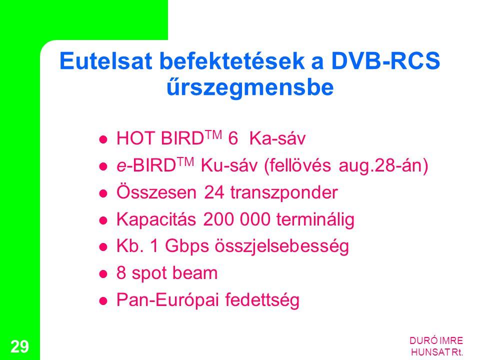 DURÓ IMRE HUNSAT Rt. 29 Eutelsat befektetések a DVB-RCS űrszegmensbe  HOT BIRD TM 6 Ka-sáv  e-BIRD TM Ku-sáv (fellövés aug.28-án)  Összesen 24 tran
