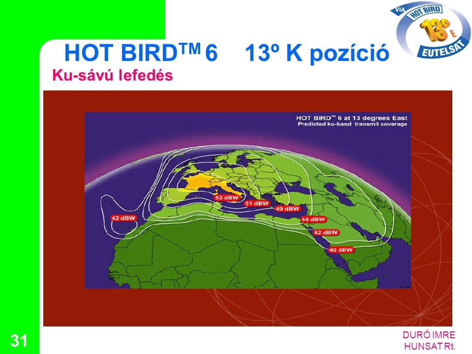 DURÓ IMRE HUNSAT Rt. 31 HOT BIRD TM 6 13º K pozíció Ku-sávú lefedés