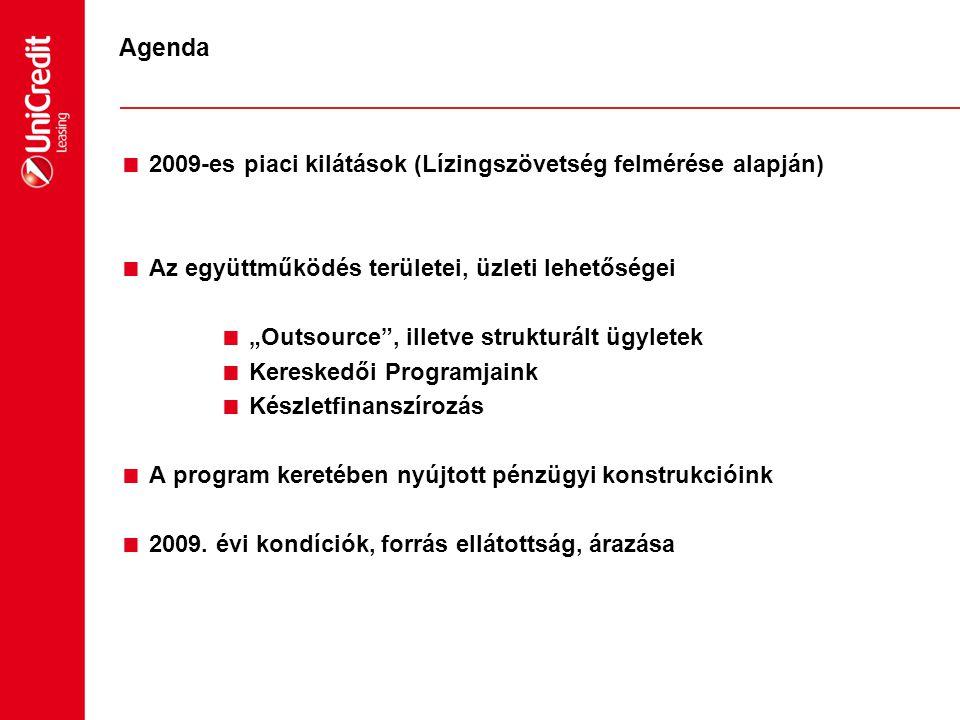 """Agenda  2009-es piaci kilátások (Lízingszövetség felmérése alapján)  Az együttműködés területei, üzleti lehetőségei  """"Outsource"""", illetve strukturá"""