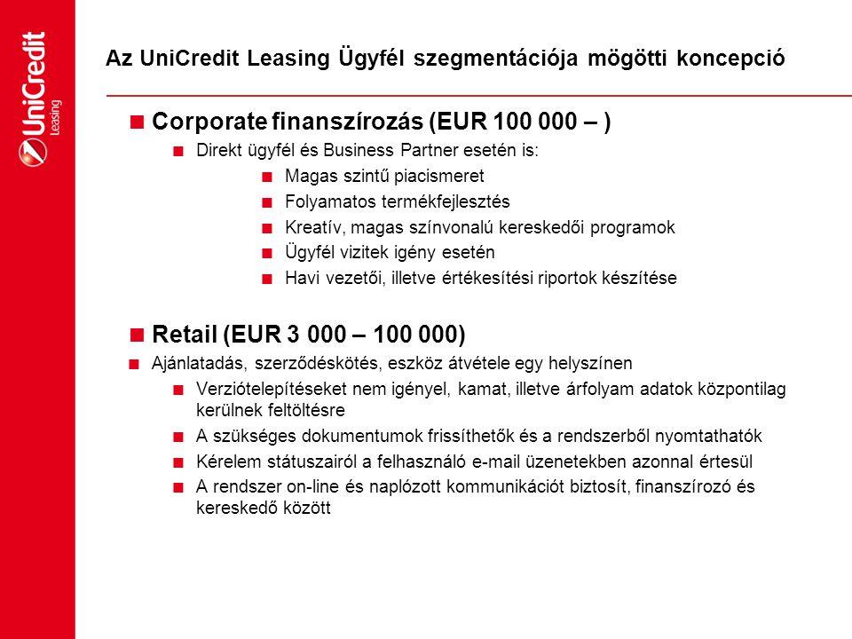 Az UniCredit Leasing Ügyfél szegmentációja mögötti koncepció  Corporate finanszírozás (EUR 100 000 – )  Direkt ügyfél és Business Partner esetén is: