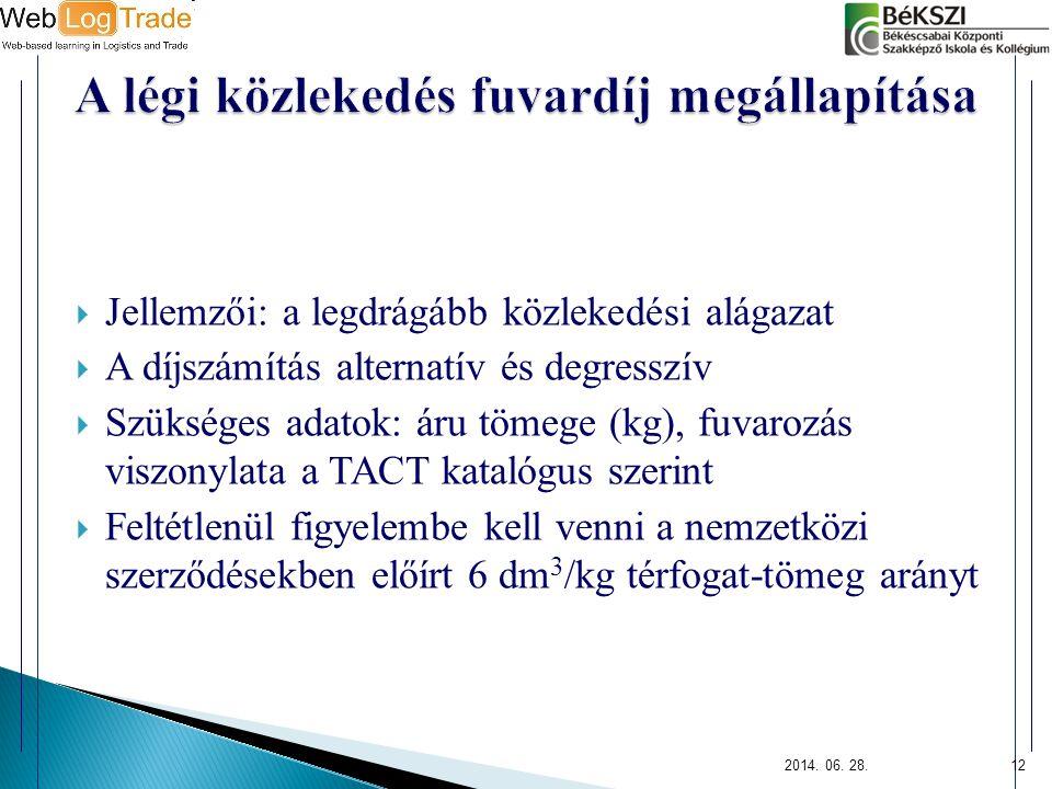  Jellemzői: a legdrágább közlekedési alágazat  A díjszámítás alternatív és degresszív  Szükséges adatok: áru tömege (kg), fuvarozás viszonylata a T