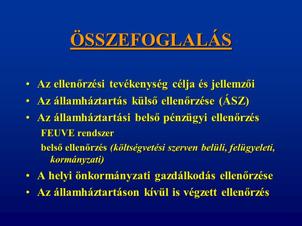 ÖSSZEFOGLALÁS •Az ellenőrzési tevékenység célja és jellemzői •Az államháztartás külső ellenőrzése (ÁSZ) •Az államháztartási belső pénzügyi ellenőrzés
