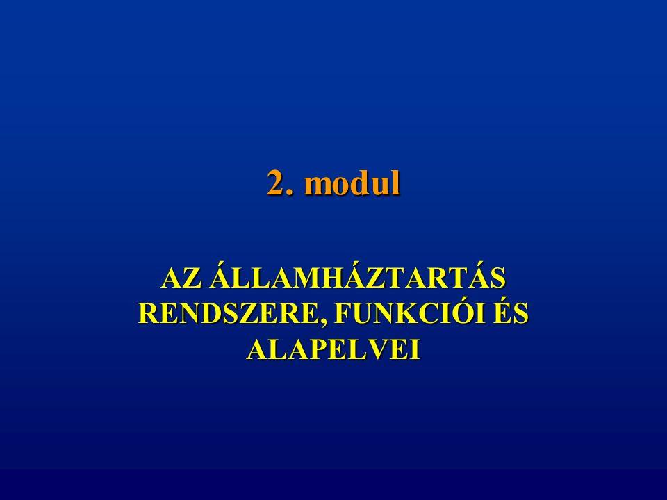 2. modul AZ ÁLLAMHÁZTARTÁS RENDSZERE, FUNKCIÓI ÉS ALAPELVEI