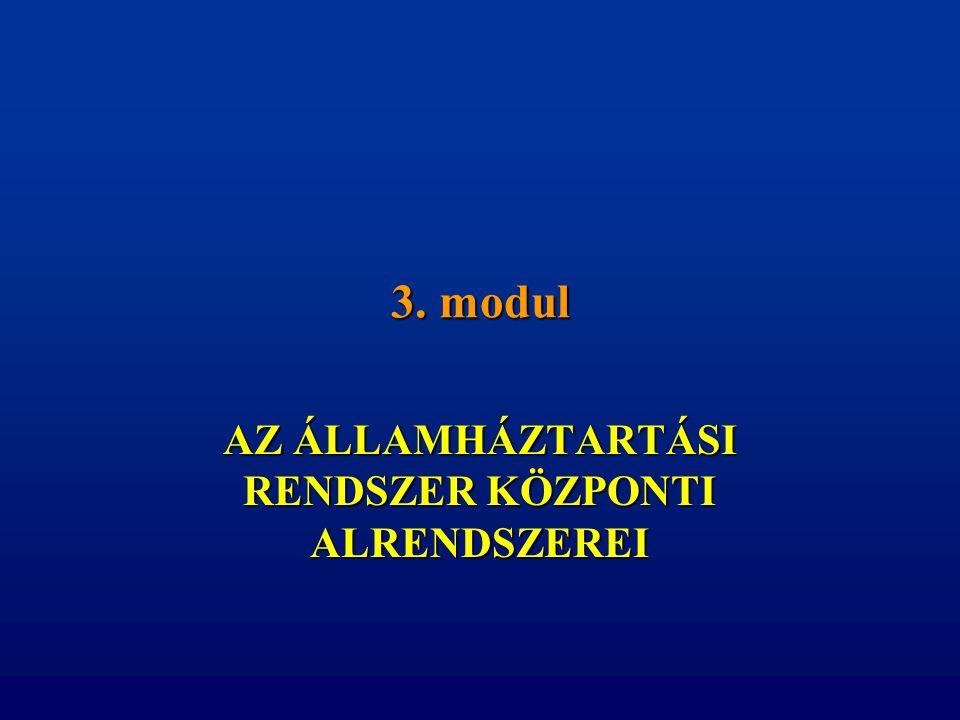 3. modul AZ ÁLLAMHÁZTARTÁSI RENDSZER KÖZPONTI ALRENDSZEREI