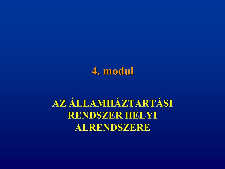 4. modul AZ ÁLLAMHÁZTARTÁSI RENDSZER HELYI ALRENDSZERE