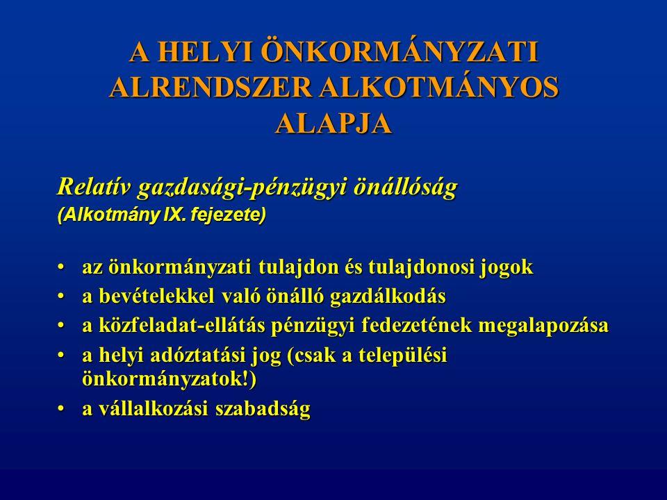 A HELYI ÖNKORMÁNYZATI ALRENDSZER ALKOTMÁNYOS ALAPJA Relatív gazdasági-pénzügyi önállóság (Alkotmány IX. fejezete) •az önkormányzati tulajdon és tulajd