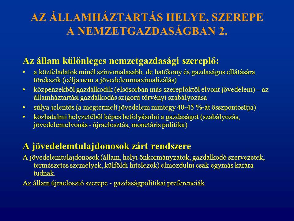 AZ ÁLLAMHÁZTARTÁS HELYE, SZEREPE A NEMZETGAZDASÁGBAN 2. Az állam különleges nemzetgazdasági szereplő: •a közfeladatok minél színvonalasabb, de hatékon