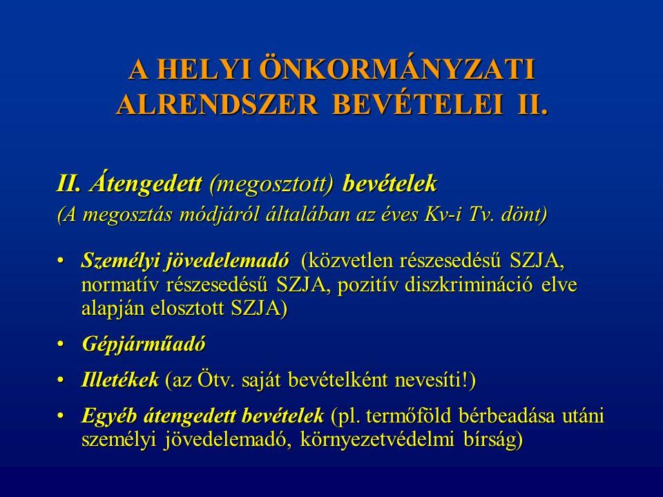A HELYI ÖNKORMÁNYZATI ALRENDSZER BEVÉTELEI II. II. Átengedett (megosztott) bevételek (A megosztás módjáról általában az éves Kv-i Tv. dönt) •Személyi