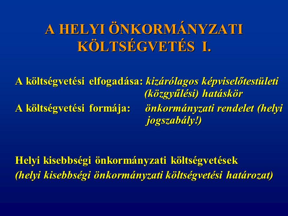 A HELYI ÖNKORMÁNYZATI KÖLTSÉGVETÉS I. A költségvetési elfogadása: kizárólagos képviselőtestületi (közgyűlési) hatáskör A költségvetési formája: önkorm