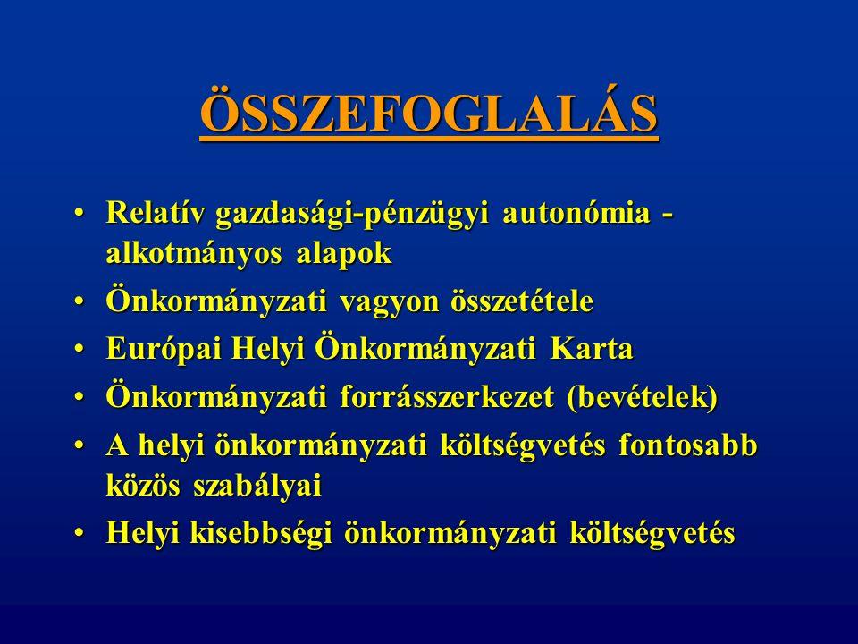 ÖSSZEFOGLALÁS •Relatív gazdasági-pénzügyi autonómia - alkotmányos alapok •Önkormányzati vagyon összetétele •Európai Helyi Önkormányzati Karta •Önkormá