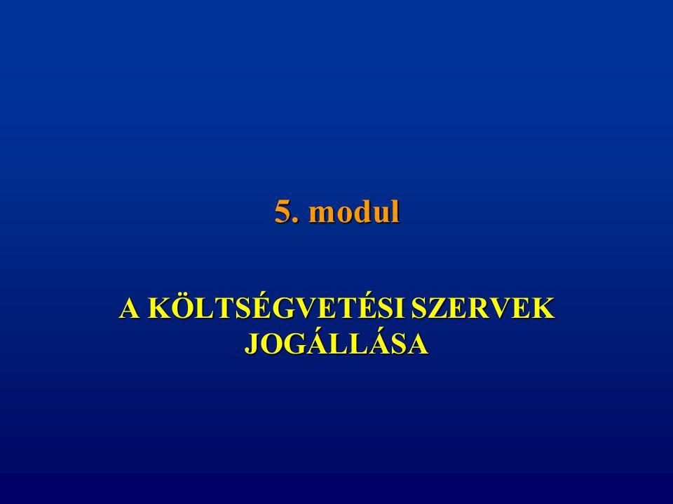 5. modul A KÖLTSÉGVETÉSI SZERVEK JOGÁLLÁSA