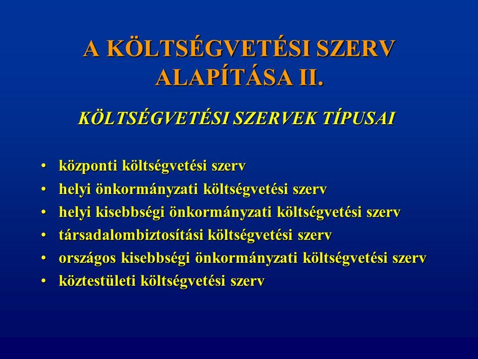 A KÖLTSÉGVETÉSI SZERV ALAPÍTÁSA II. KÖLTSÉGVETÉSI SZERVEK TÍPUSAI KÖLTSÉGVETÉSI SZERVEK TÍPUSAI •központi költségvetési szerv •helyi önkormányzati köl