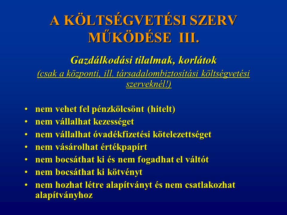 A KÖLTSÉGVETÉSI SZERV MŰKÖDÉSE III. Gazdálkodási tilalmak, korlátok (csak a központi, ill. társadalombiztosítási költségvetési szerveknél!) •nem vehet