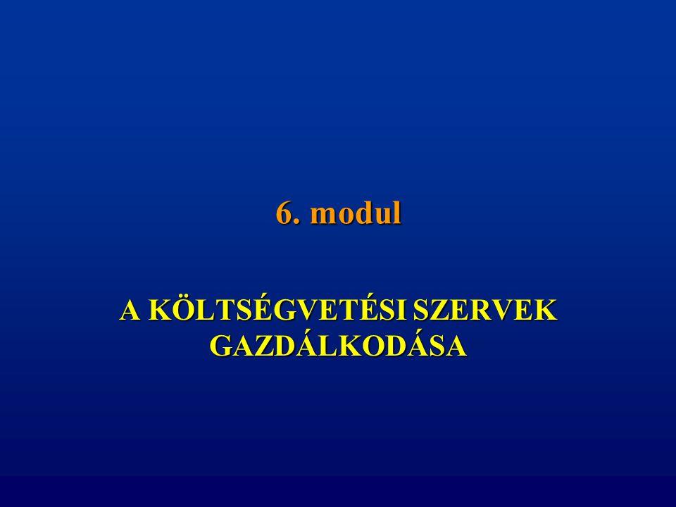 6. modul A KÖLTSÉGVETÉSI SZERVEK GAZDÁLKODÁSA