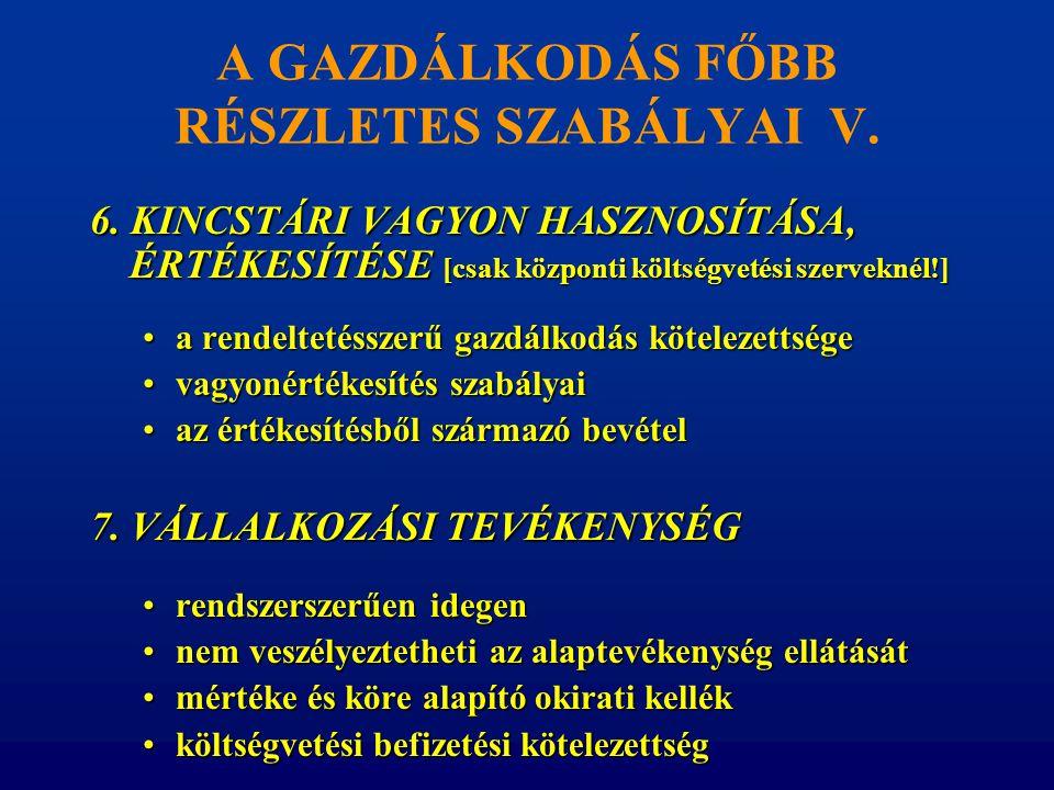 A GAZDÁLKODÁS FŐBB RÉSZLETES SZABÁLYAI V. 6. KINCSTÁRI VAGYON HASZNOSÍTÁSA, ÉRTÉKESÍTÉSE [csak központi költségvetési szerveknél!] •a rendeltetésszerű