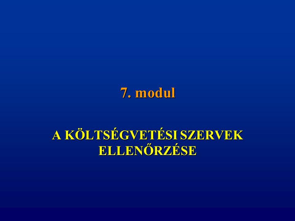 7. modul A KÖLTSÉGVETÉSI SZERVEK ELLENŐRZÉSE