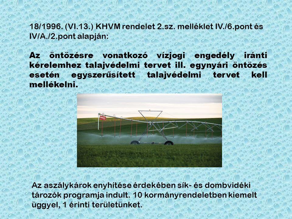 18/1996. (VI.13.) KHVM rendelet 2.sz. melléklet IV./6.pont és IV/A./2.pont alapján: Az öntözésre vonatkozó vízjogi engedély iránti kérelemhez talajvéd