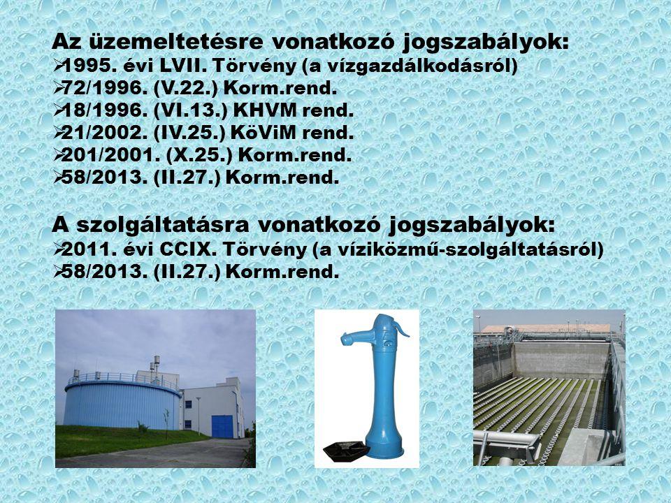 Az üzemeltetésre vonatkozó jogszabályok:  1995. évi LVII. Törvény (a vízgazdálkodásról)  72/1996. (V.22.) Korm.rend.  18/1996. (VI.13.) KHVM rend.