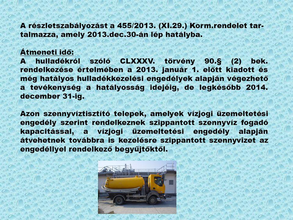 A részletszabályozást a 455/2013. (XI.29.) Korm.rendelet tar- talmazza, amely 2013.dec.30-án lép hatályba. Átmeneti idő: A hulladékról szóló CLXXXV. t