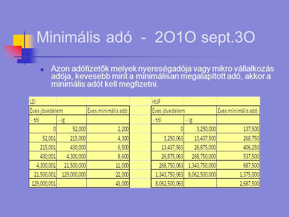 Minimális adó - 2O1O sept.3O  Azon adófizetők melyek nyereségadója vagy mikro vállalkozás adója, kevesebb mint a minimálisan megalapított adó, akkor a minimális adót kell megfizetni.