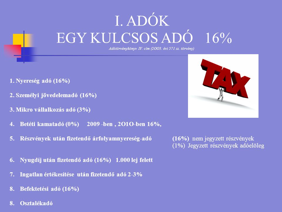 I.ADÓK EGY KULCSOS ADÓ 16% Adótörvénykönyv IV. cím (2OO3.