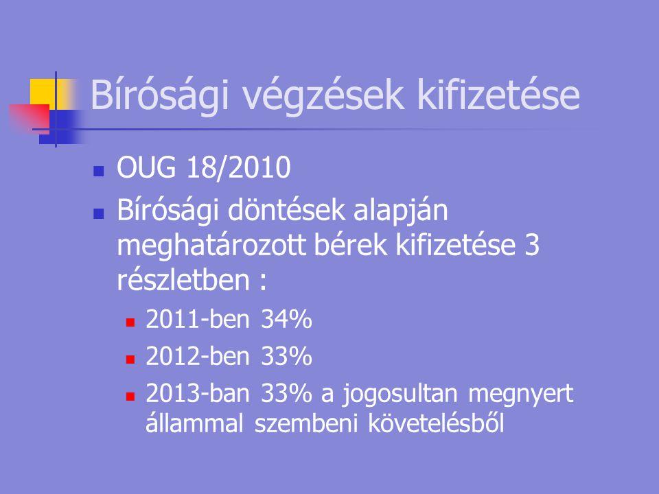 Bírósági végzések kifizetése  OUG 18/2010  Bírósági döntések alapján meghatározott bérek kifizetése 3 részletben :  2011-ben 34%  2012-ben 33%  2013-ban 33% a jogosultan megnyert állammal szembeni követelésből