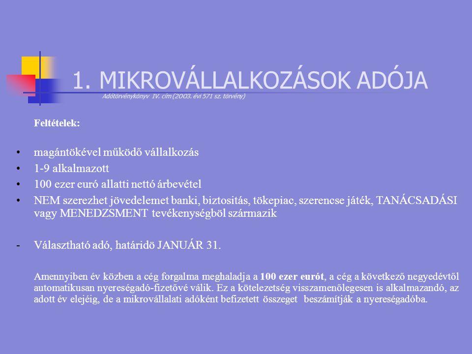 1. MIKROVÁLLALKOZÁSOK ADÓJA Adótörvénykönyv IV. cím (2OO3. évi 571 sz. törvény) Feltételek: •magántökével működő vállalkozás •1-9 alkalmazott •100 ez