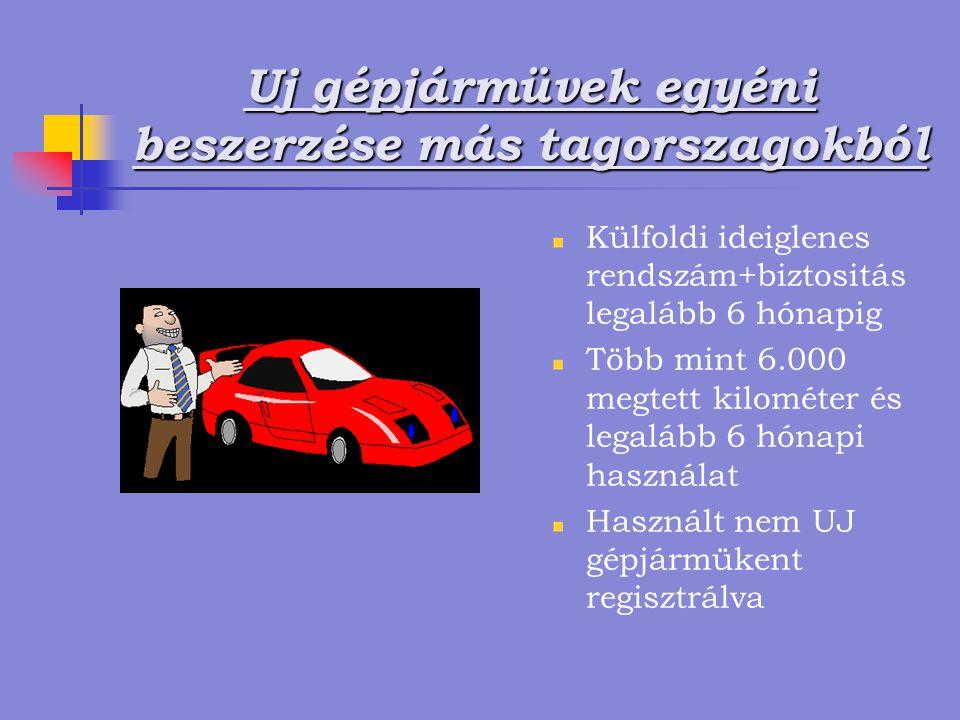 Uj gépjármüvek egyéni beszerzése más tagorszagokból Külfoldi ideiglenes rendszám+biztositás legalább 6 hónapig Több mint 6.000 megtett kilométer és legalább 6 hónapi használat Használt nem UJ gépjármükent regisztrálva