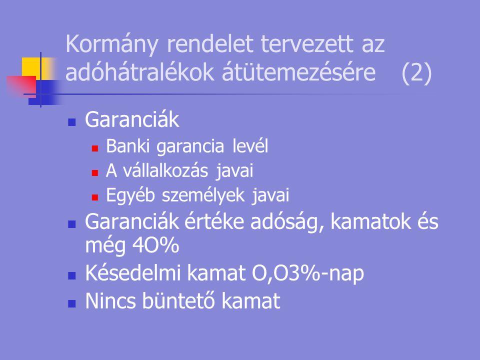 Kormány rendelet tervezett az adóhátralékok átütemezésére(2)  Garanciák  Banki garancia levél  A vállalkozás javai  Egyéb személyek javai  Garanc