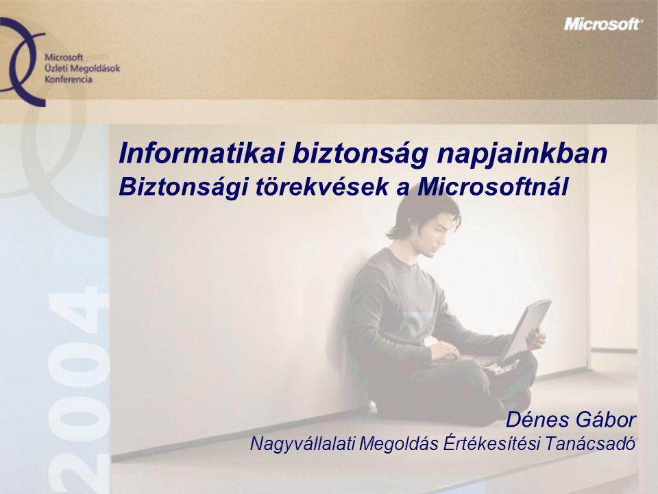 Informatikai biztonság napjainkban Biztonsági törekvések a Microsoftnál Dénes Gábor Nagyvállalati Megoldás Értékesítési Tanácsadó
