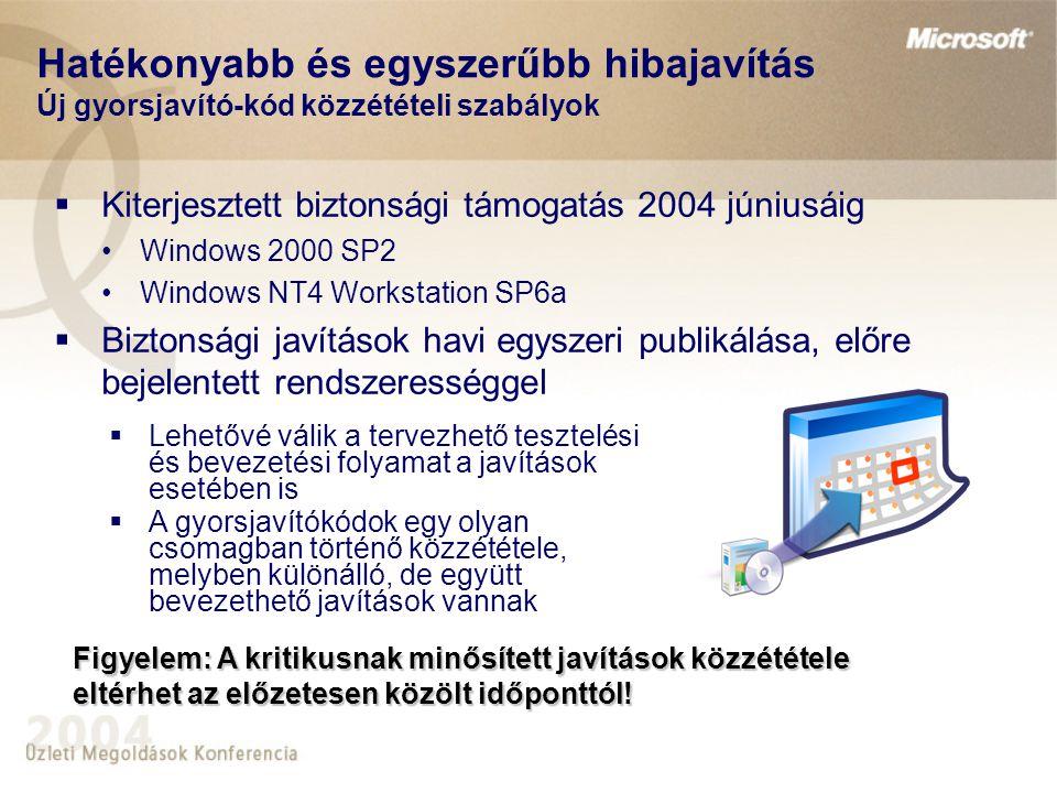 Hatékonyabb és egyszerűbb hibajavítás Új gyorsjavító-kód közzétételi szabályok  Kiterjesztett biztonsági támogatás 2004 júniusáig •Windows 2000 SP2 •Windows NT4 Workstation SP6a  Biztonsági javítások havi egyszeri publikálása, előre bejelentett rendszerességgel  Lehetővé válik a tervezhető tesztelési és bevezetési folyamat a javítások esetében is  A gyorsjavítókódok egy olyan csomagban történő közzététele, melyben különálló, de együtt bevezethető javítások vannak Figyelem: A kritikusnak minősített javítások közzététele eltérhet az előzetesen közölt időponttól!