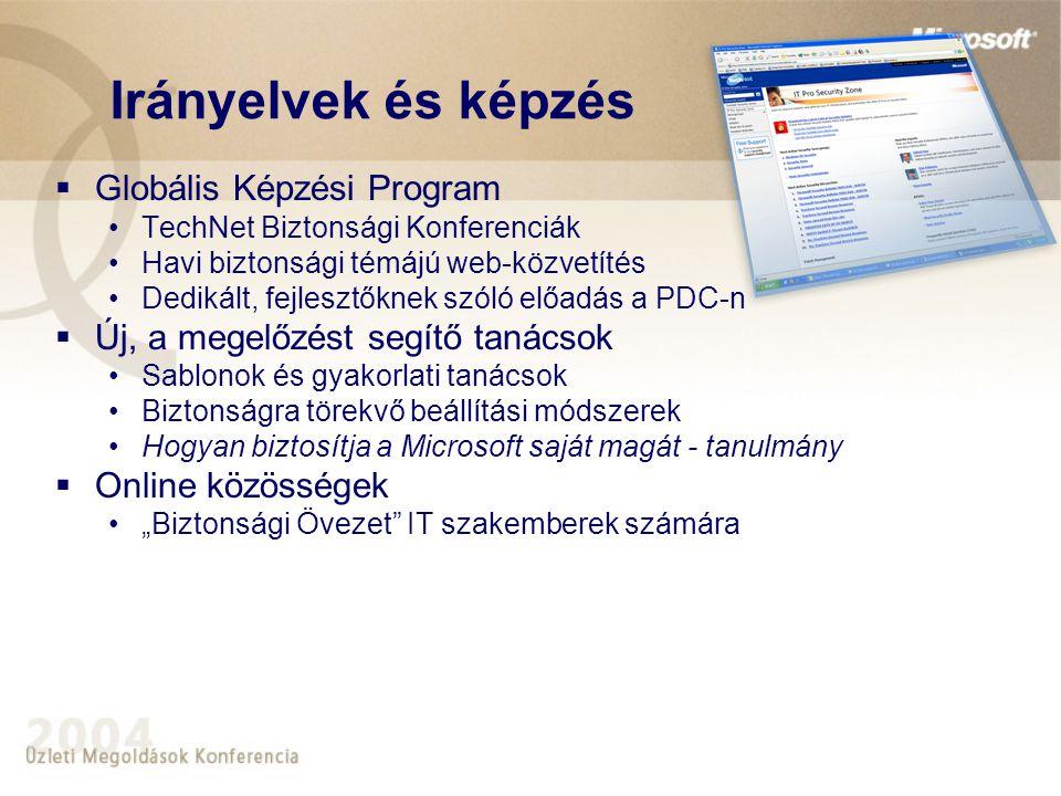 """ Globális Képzési Program •TechNet Biztonsági Konferenciák •Havi biztonsági témájú web-közvetítés •Dedikált, fejlesztőknek szóló előadás a PDC-n  Új, a megelőzést segítő tanácsok •Sablonok és gyakorlati tanácsok •Biztonságra törekvő beállítási módszerek •Hogyan biztosítja a Microsoft saját magát - tanulmány  Online közösségek •""""Biztonsági Övezet IT szakemberek számára Irányelvek és képzés"""