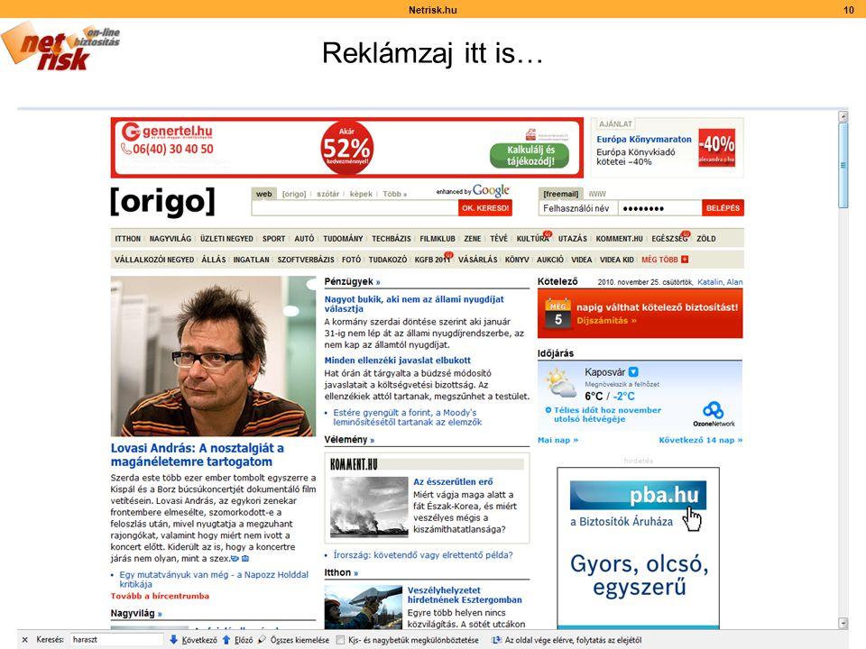 Reklámzaj itt is… Netrisk.hu10