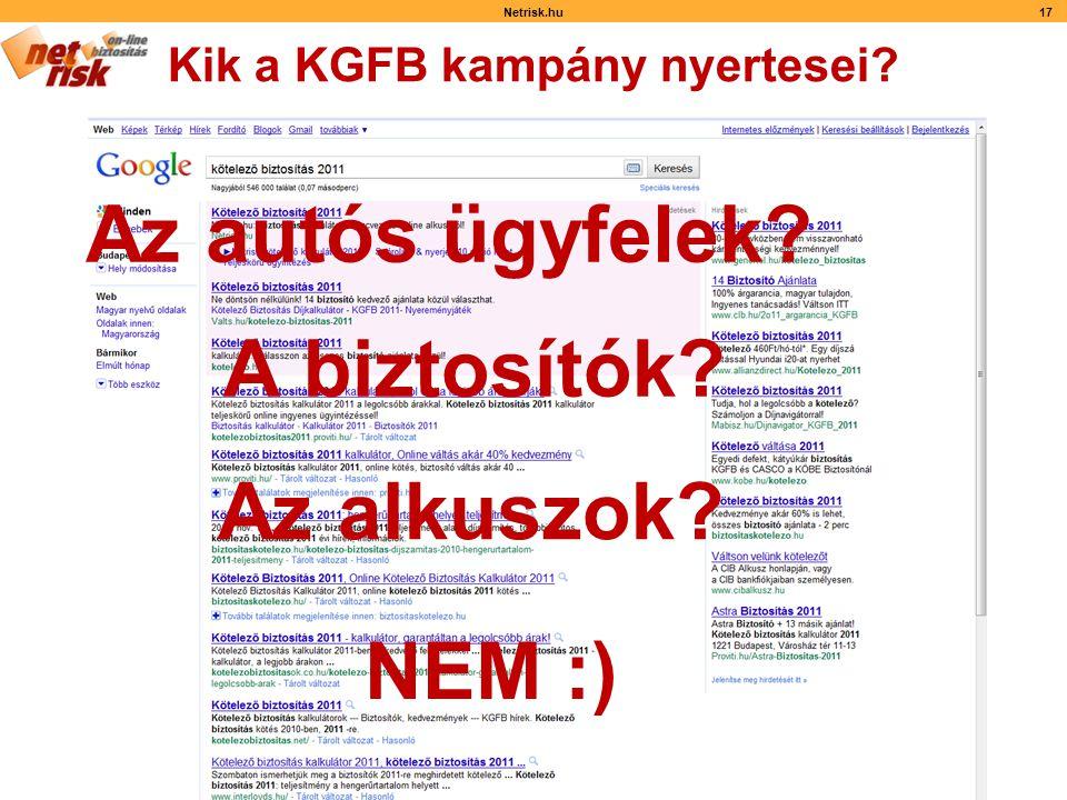 Kik a KGFB kampány nyertesei Netrisk.hu17 Az autós ügyfelek A biztosítók Az alkuszok NEM :)