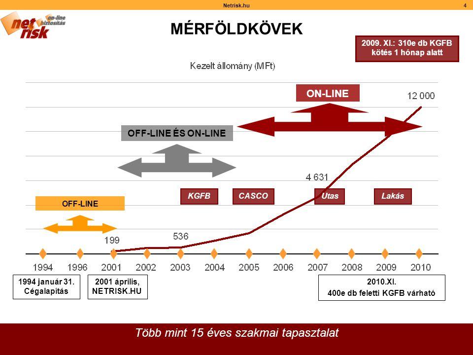 4 MÉRFÖLDKÖVEK Több mint 15 éves szakmai tapasztalat OFF-LINE 2001 április, NETRISK.HU 2010.XI.