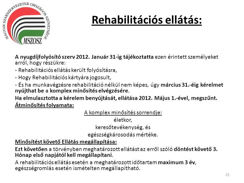 Rehabilitációs ellátás: A nyugdíjfolyósító szerv 2012. Január 31-ig tájékoztatta ezen érintett személyeket arról, hogy részükre: - Rehabilitációs ellá