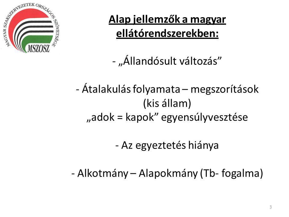 """Alap jellemzők a magyar ellátórendszerekben: - """"Állandósult változás"""" - Átalakulás folyamata – megszorítások (kis állam) """"adok = kapok"""" egyensúlyveszt"""