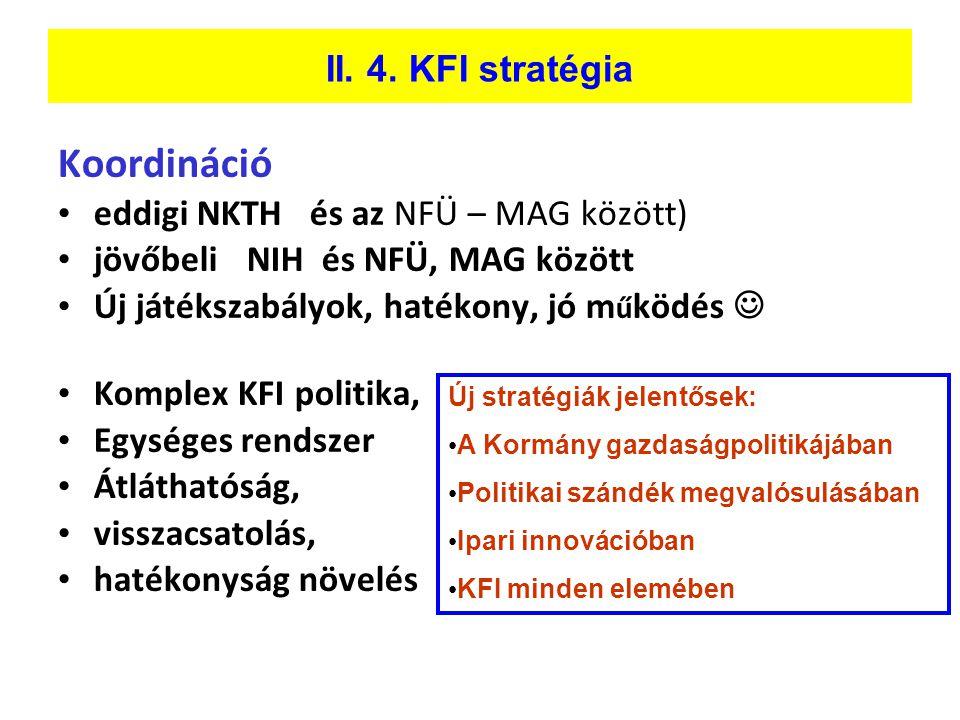 II. 4. KFI stratégia Koordináció • eddigi NKTH és az NFÜ – MAG között) • jövőbeli NIH és NFÜ, MAG között • Új játékszabályok, hatékony, jó m ű ködés 